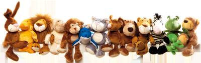 Sigikid-Stofftiere sitzen in einer Reihe