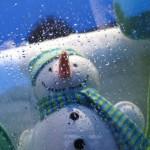 Schneemann im Schaufenster