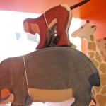 Figuren von Holztiger: Flusspferd, Affe, u.a.