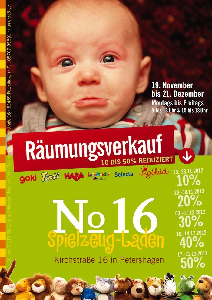 Flyer von Numero 16 Spielzeugladen zum Räumungsverkauf Weihnachten 2012